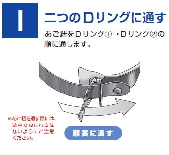①バイク用ヘルメットのあご紐の縛り方