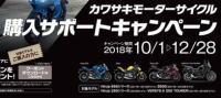 キャンペーン情報 カワサキモーターサイクル購入サポートキャンペーン 2018年12月28日までです。