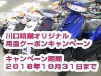 キャンペーン情報 川口輪業オリジナル 用品クーポンプレゼントキャンペーン 2018年10月31日まで