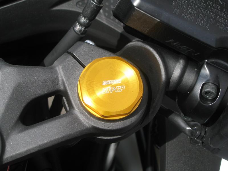 新車バイク カワサキ Ninja ZX-25R ホワイト/レッド/ブラック フロントフォークキャップ